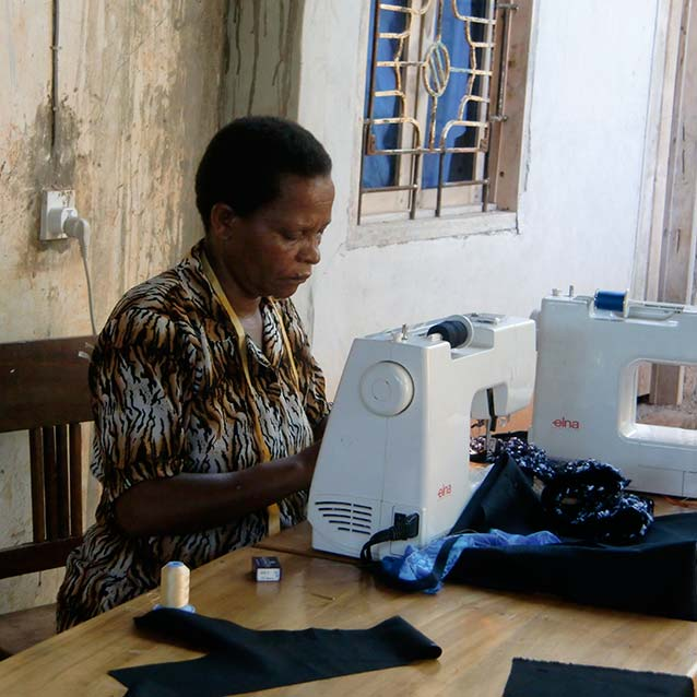 Woman sewing image
