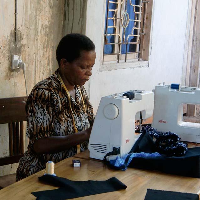 Woman sewing image