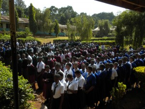 Children at Kishimundu Secondary School greet us